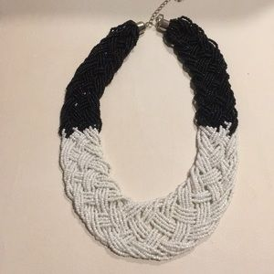 """Jewelry - African Imported 16""""black & white beaded necklace"""